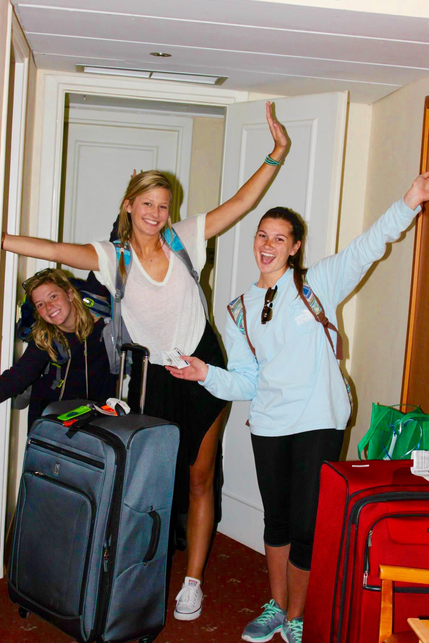 Students in hotel ready for flight