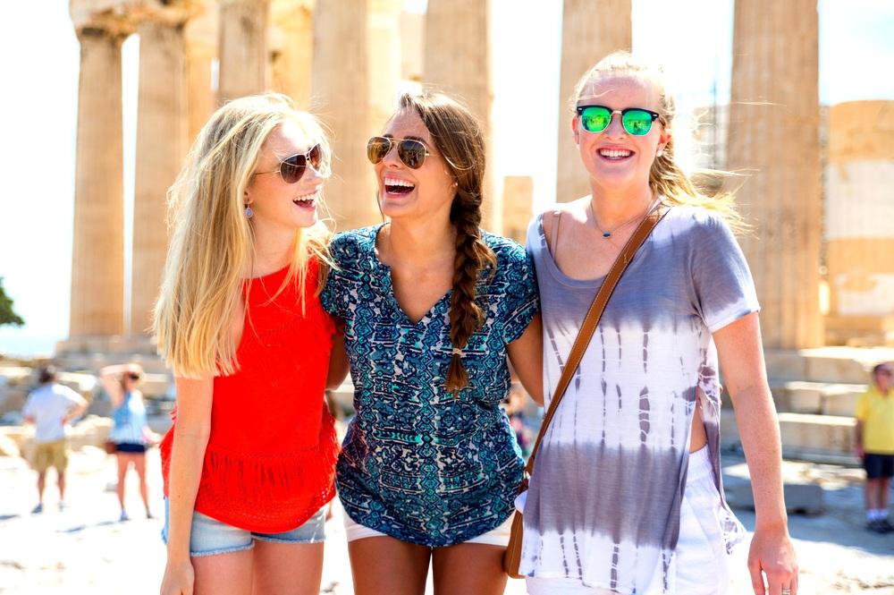 Roommates exploring ancient Athens