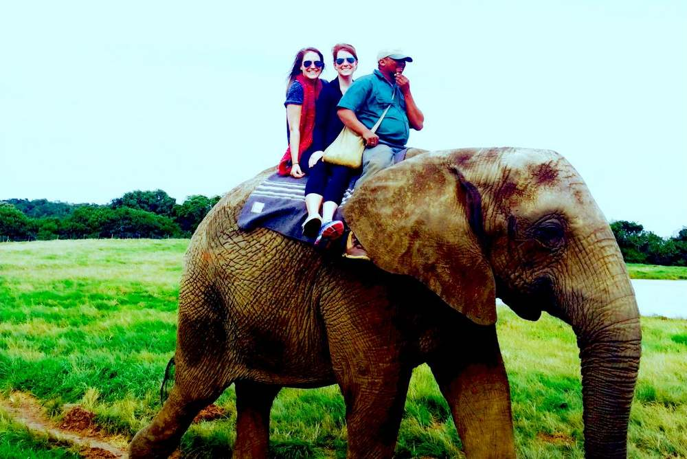 Riding an elephant in South Africa
